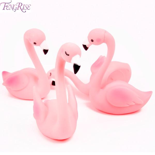 FENGRIS Neon Flamingo Cake Topper Baby Shower Kids Favores Flamingo Cumpleaños Cupcake Toppers Fiesta de Cumpleaños Decoraciones Niños