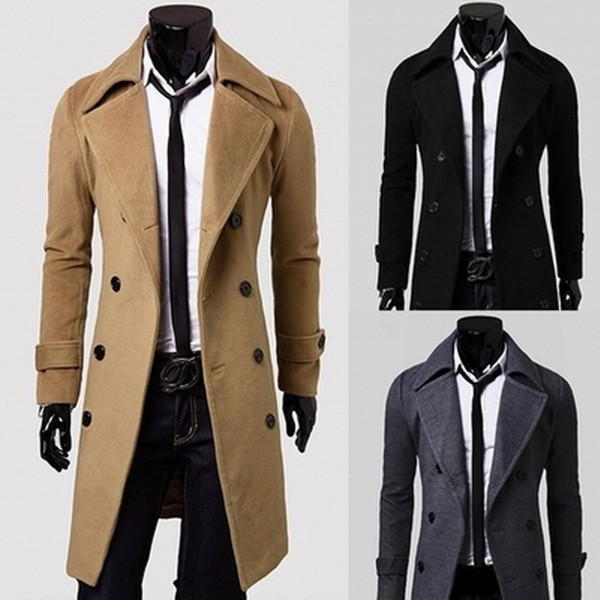 Fashion-New Brand Winter mens long pea coat Men's wool Coat Turn down Collar Double Breasted men trench coat