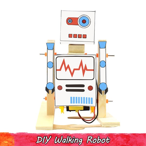 best selling DIY Wooden Electric Science Walking Robot model kit Toy for Children Physical Science Experiment Creative Educational Toys Gifts Home Decor