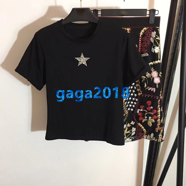 women girls t-shirt a-line dresses two piece dress set star crystal brooch tee top embroidery floral mesh midi skirt high-end runway suit