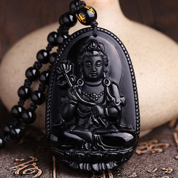 Black Stone Necklace Fine Carving Chinese Natural Black A Obsidian Carved Dragon Black Jade Pendant