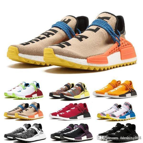 adidas HU nmd human race 2019 Pharrell Williams Human Race Yellow Blue Nerd Heart Mind Mens Designer Sneakers para mujer de lujo zapatillas de deporte Tamaño 36-45