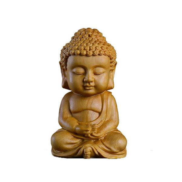 Neue 7 * 4 CM Chinesische Box Zweig Buddha Holzschnitzerei Autoinnenausstattung Buddhismus Figur handwerk Innen Autozubehör Geschenke