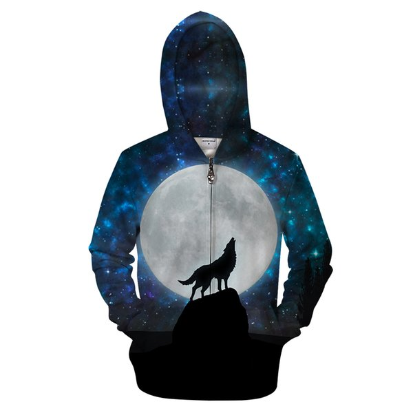 Enjoy Moon 3D Zip Hoodies Men Zipper Sweatshirts Wolf Pullover Novelty Tracksuit Fashion Hoody Streetwear Hooded DropShip WY042