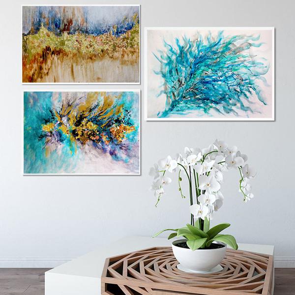 Großhandel Modernes Buntes Ölgemälde Auf Leinwand Rosa Wandbilder Für  Wohnzimmer Dekor Abstrakte Wolken Poster Und Drucke Marmor Kunst Von ...