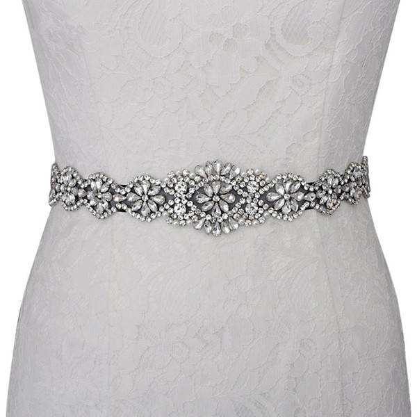 100% Gerçek Görüntü El Yapımı Diamonds Boncuk Gelin Sashes Beyaz Fildişi Kırmızı Mavi Muliti Renk Düğün Kemerler Gelinlik Abiye giyim Için