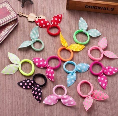 10 Pcs Ribbon Dot Gum Hair Accessories Girls Ornaments Elastic Rubber Random Color Headband Children Head Wear