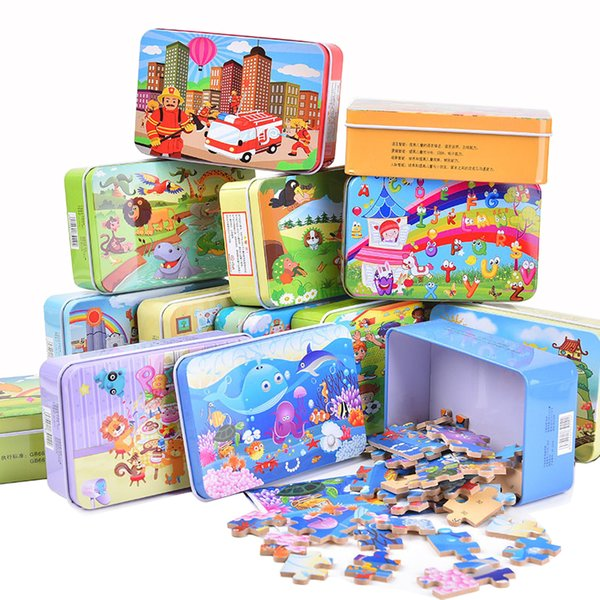 top popular 10pcs lot New 60 Pieces Wooden Puzzle Kids Toy Cartoon Animal Wood Jigsaw Puzzles Children Early Educational Toys for Christmas Gift QM-e910 2019