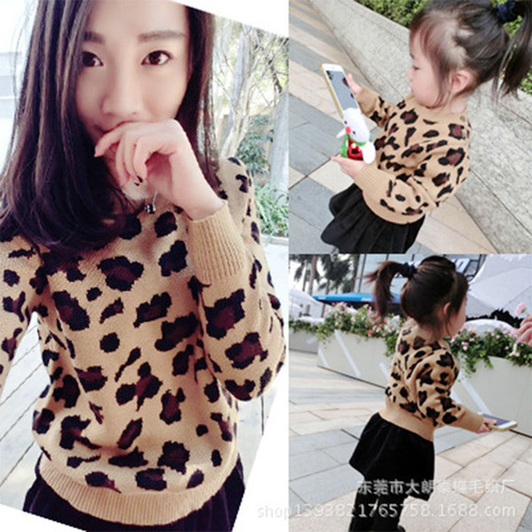2019 Baby Boy Girl Sweaters Women Cardigan Pullover Leopard Family Look Matching Mother And Daughter Clothes Outfits J190517