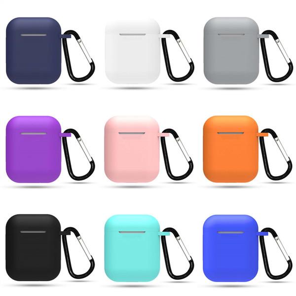 Pour Apple Airpods Etui en silicone Doux Ultra Mince Protecteur Pochette Pochette Avec Boucle Anti-perdue pour Air pods Étui Ecouteurs i9s Tws DHL
