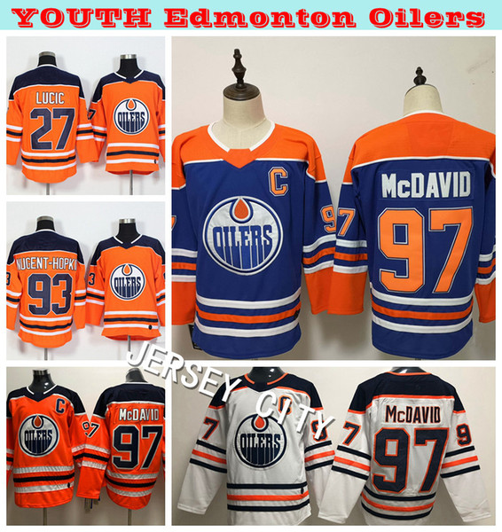 2019 Frauen Edmonton Oilers Hockey Trikots 97 Connor McDavid 27 Milan Lucic 93 Ryan Nugent-Hopkins Damen Hockey Trikot Genähte Stickerei