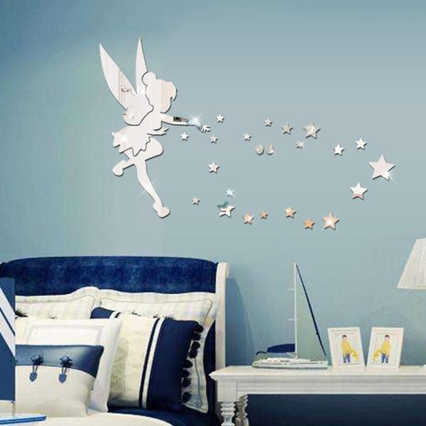 이동식 요정 거울 벽 스티커 데칼 3D DIY 아크릴 벽 전사 무늬 바탕 화면 홈 어린이 침실 거실 장식 스티커