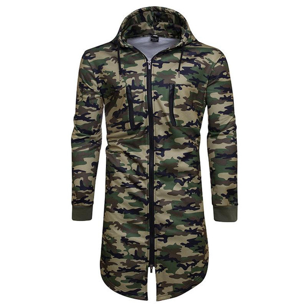 Long paragraph camouflage sweater long-sleeved sports jacket casual hooded sweater printing sweater