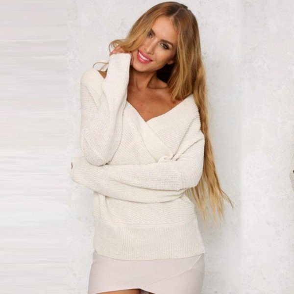 f348825c1c1a5 Women Autumn Winter Stylish Sexy Deep-v Strapless Long Sleeve Sweaters  Pullover 2019 Tops Knitted
