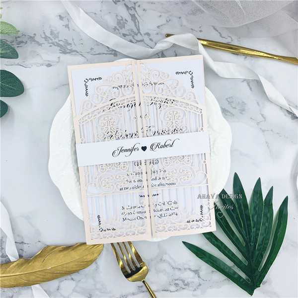 best selling European Classic Blush Pink Laser Cut Wedding Invites With Personal Invites And Belly Band, Free shipping