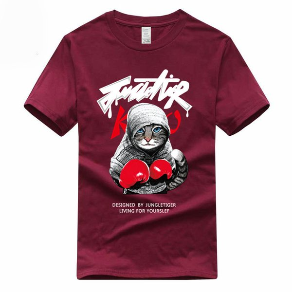 Boxer Cat Euro Size 100% Cotton T-shirt Summer Casual O-neck Short Sleeve Tshirt For Men And Women Gmt040