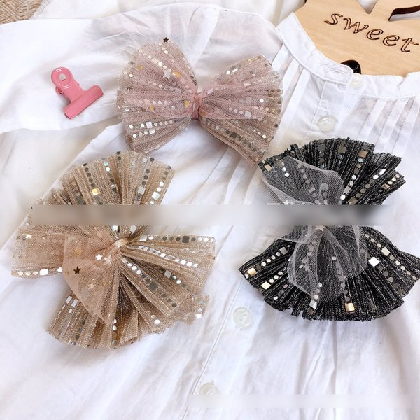 Children's day party hair clip boutique girls geometric sequins lace Bows princess hairpins kids multilayer lace gauze Bows barrettes F7443