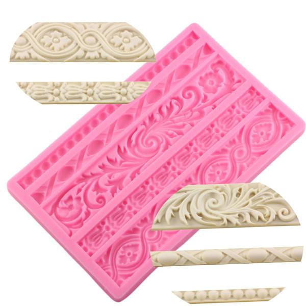 Mujiang Diy Barok Kaydırma Kabartma Sınır Silikon Kalıp Çerçeve Fondan Kek Dekorasyon Araçları Şeker Çikolata Gumpaste Kalıp Q190524