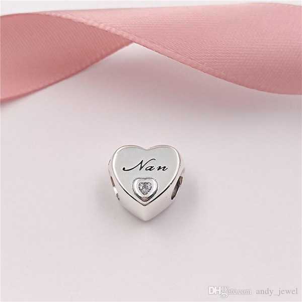 Authentic 925 Sterling Silver Beads Nan'S Love Charms Fits European Pandora Style Jewelry Bracelets & Necklace 797031CZ