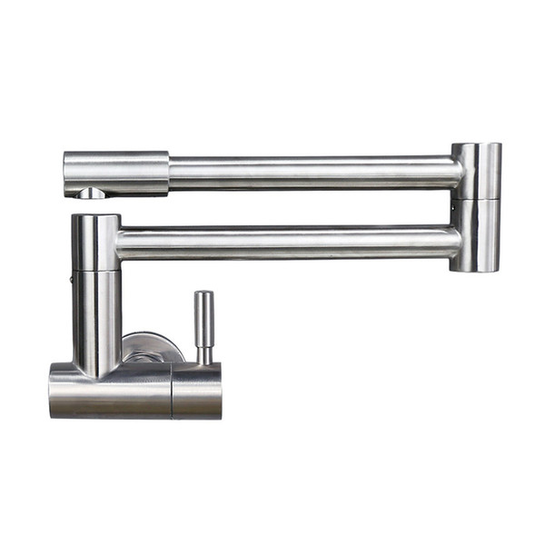 Free Rotation Single Cold Kitchen Faucet Foldable Sink Water Tap Stainless Steel Brushed Wall Mounted Free Shipping