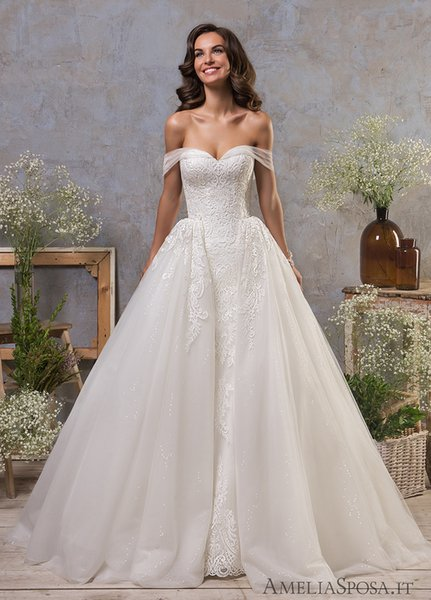 Fall Overskirts Wedding Dresses 2019 abiti da sposa Mermaid Off the Shoulder Lace Tulle Bridal Gowns vestidos de noiva Elegant Dress Gown