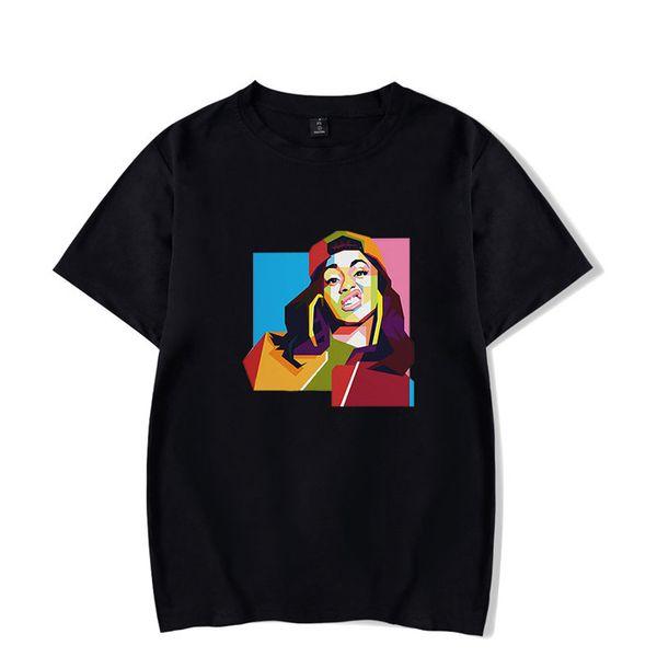Cardi B Kadın Rapçi Periferik Tshirt Renkli Opsiyonel Çeşitli Stilleri Ekip Boyun Kısa Kollu Moda Giyim