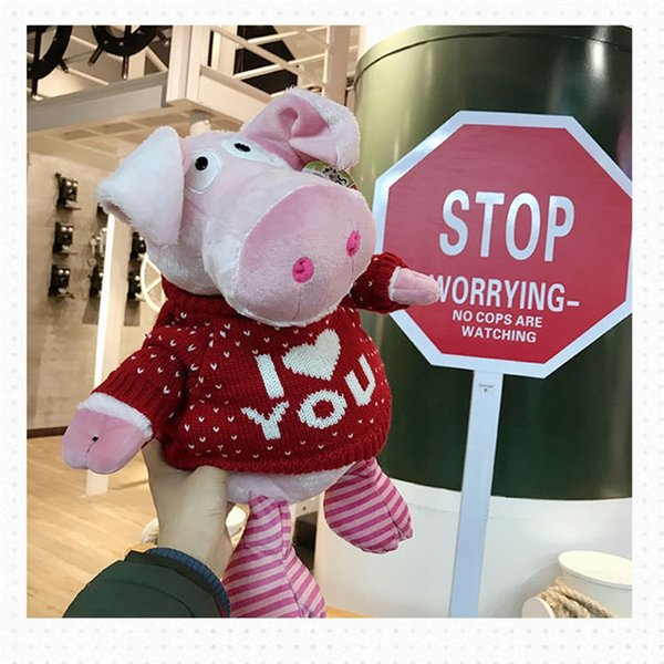 20170727 Hot Sale Stuffed Animals Pig Cute Plush Toy Doll Holding New Year Gift Free Shipping