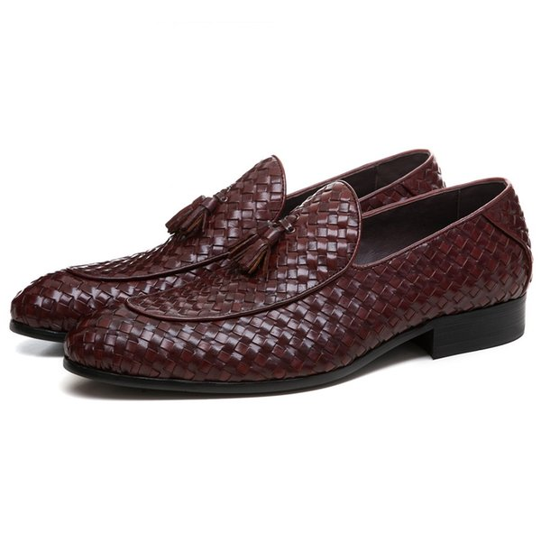 NEW Brown Tan / Black Woven Design Summer Loafers Mens Wedding Groom Shoes Genuine Leather Prom Shoes Boys Dress Shoes