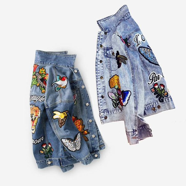 Veste en jean brodé veste femme mode automne / hiver manteaux basique manteaux tigre Floral animal vintage femmes vêtements