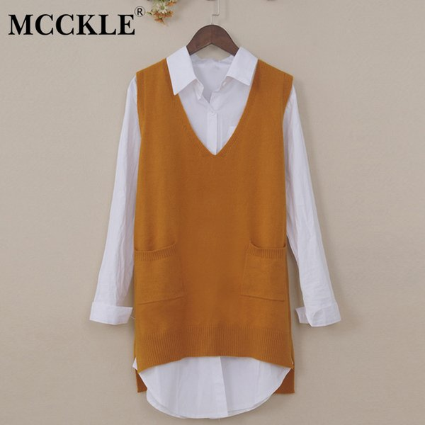 MCCKLE 2018 Autumn Women Cashmere Knitted Vests V Neck Pockets Casual Loose Sweater Vest Female Knitted Waistcoat Pullover Tops