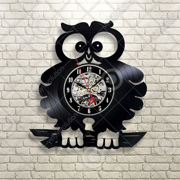 Cute Crazy Owl Birds Gift For Child Vinyl Wall Clock Home Decor Handmade Art Personality Gift Size 12 Inches Color Black Decor Clocks Decor Wall