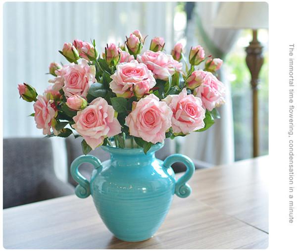 5 pçs / lote Vivid Real Touch Rose Colorido de Alta Qualidade Flor De Seda Artificial para Festa de Casamento Decoração 2 Cabeças / buquê