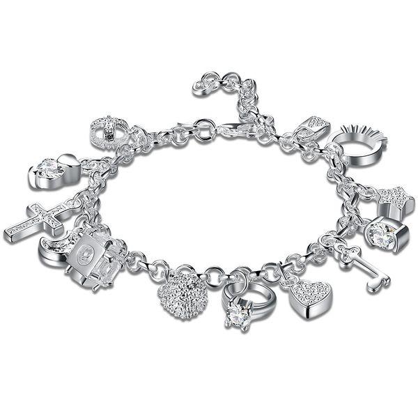 Classic Charm Bracelets Silver Plated Hanging Heart Key Ring Lock Etc 13 Bracelet Unique Classic Designed Unisex Birthday Gifts POTALA144