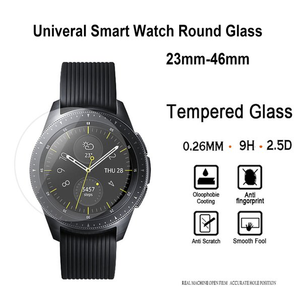 Universal Round Tempered Glass For Smart Watch 23mm-46mm LG Samsung Sony Moto Clear View Protector Cover