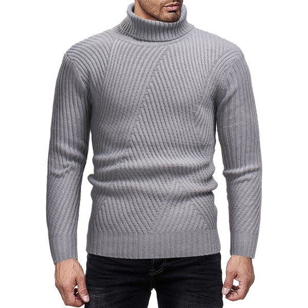 Sweater Pullover Men 2019 Male Brand Casual Slim Sweaters Men Solid Color Hedging Turtleneck Mens Sweater