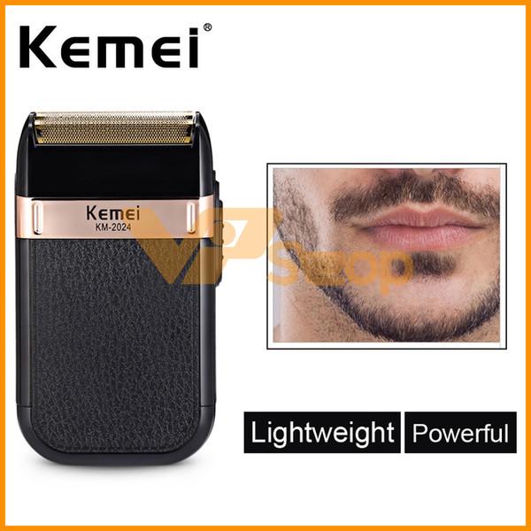 Kemei KM-2024 rasoir électrique pour hommes rasoirs jumeaux lame étanche réciproque rasoir sans fil USB rasage machine barbe tondeuse