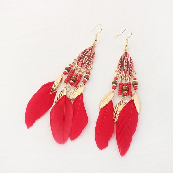Blattgold Feder Quaste Ohrringe Baumeln Ohr Manschetten Kronleuchter für Frauen Modeschmuck