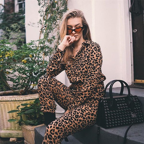 BKLD Leopard Jumpsuits Women Belted Elegant Jumpsuits Overalls 2018 Fashion Winter Single Breasted Long Sleeve Rompers