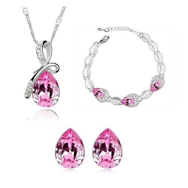 Austrian Crystal Water Drop Shape Bow Ribbon Rhinestone Inlay Necklace Earrings Bracelet Three-Piece Set Suit Hot Sale Fashion Jewelry