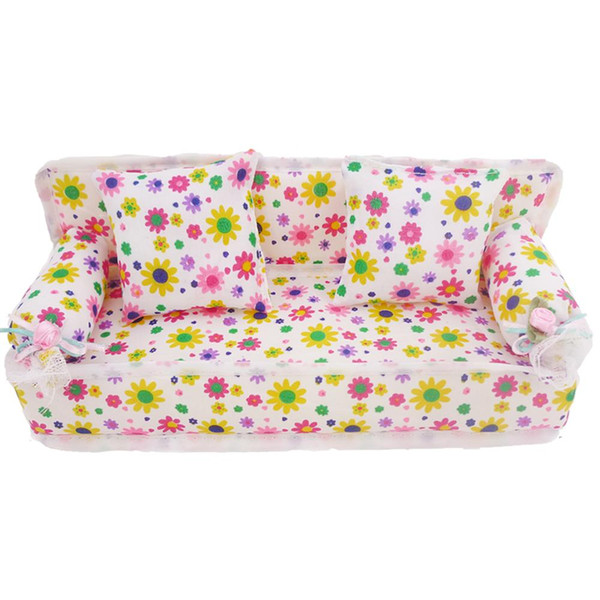 best selling Fashion Mini Flower Cloth Sofa With 2 Full Cushions Bedroom Dollhouse Furniture For Barbie Doll Accessories Baby Kid's Gift Toy