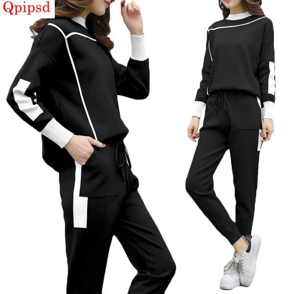 Fashion women's knitted suit women 2 piece tracksuit sets womens sporting suit female sportswear women loose tops+long pant