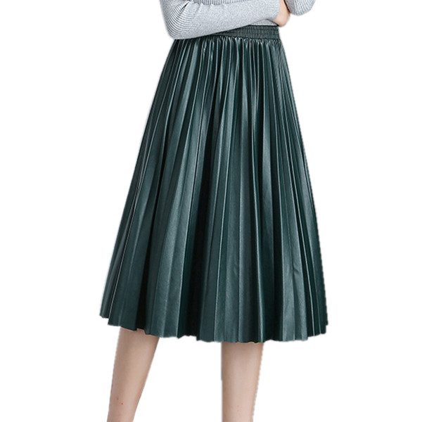 High Waist Pleated Pu Faux Leather Skirt Women Autumn Winter Elegant Midi Long Skirts Female Black Red Leather Skirt