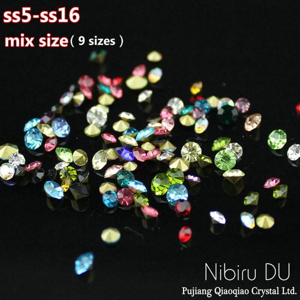 para uñas 10g Mezcla de color / tamaño punto vidrio trasero Clavo Piedras Strass Para uñas 3D Nail Art Decoración Gemas