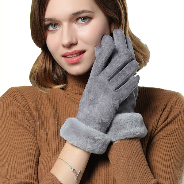Winter Gloves womens Touchscreen Mittens Female outdoor Plush Wrist Windproof Warm Faux suede Leather Thicken Cashmere