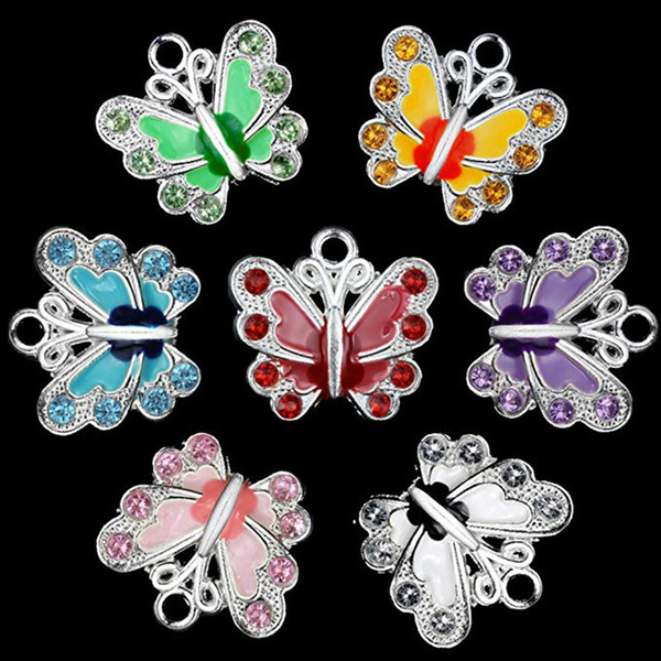 Küçük Kelebek Emaye Charm Boncuk DIY Takı Yapımı için Anahtarlık Kolye Kolye Bilezik 7 Renkler Charms Boncuk Mix renk