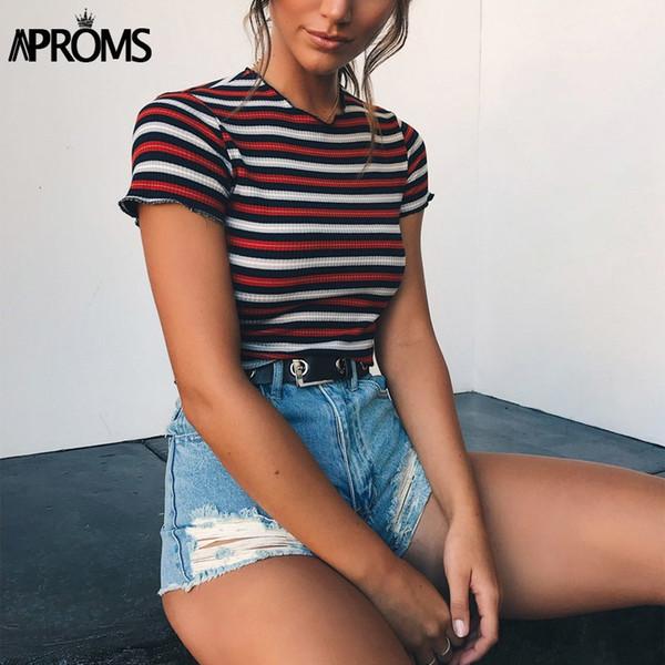 Aproms Multi Stripe Blocked Stretch T-shirt Women Summer Crop Top 90s Basic Tshirt Casual Short Sleeve Ribbed T Shirt Female Top S430