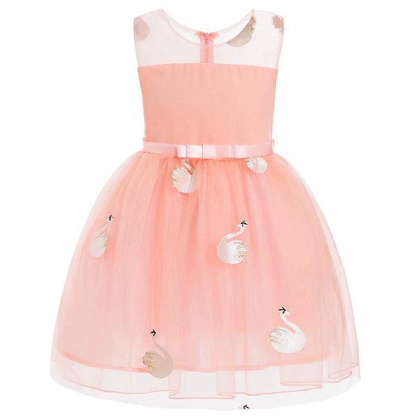 Bonitos vestidos de niña de flores Cutton 2018 Swan apliques para niña Vestidos de primera comunión Vestidos de baile para niños MC1738