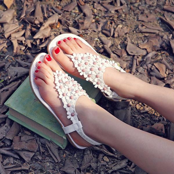 Current2019 Zweite Posimi Sandalen Damen Pinch Toe Flower Flache Schuhe Sie Level mit 40 Code