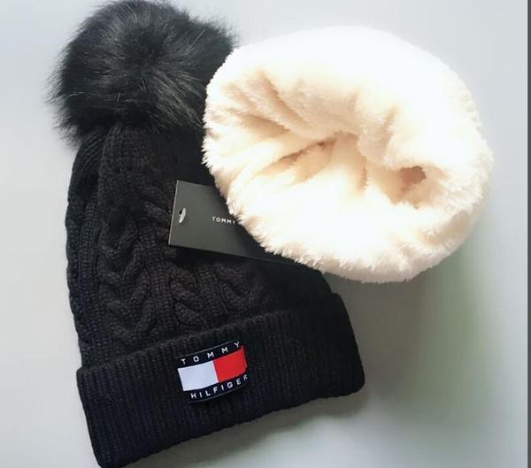 men women embroidery bobble 2hats hip hop dancing sport knitted hat winter women caps skullies bonnet beanies2019 hat