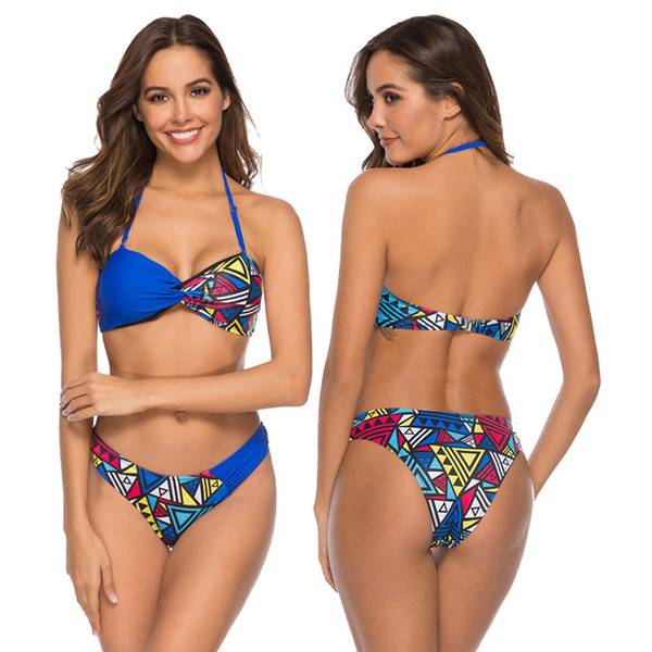 New Sexy Geometric Patchwork Bikini Women Swimsuit Solid Blue Bathing Suit S-XL Girl Padded Backless Halter Swimwear Bikini Set